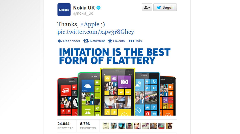 La imitación es la mejor forma de adulación, escribió Nokia en un tuit, en el momento en que Apple presentaba su iPhone 5C de colores.