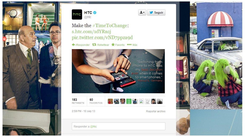 HTC también se sumó a las burlas yrecordó en Twitter que su modelo One viene en diversos colores