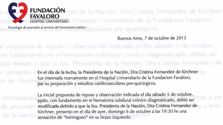 El comunicado que informó que la mandataria será operada mañana