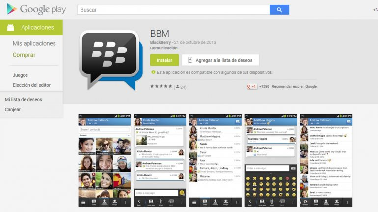BlackBerry Messenger para Android y iPhone