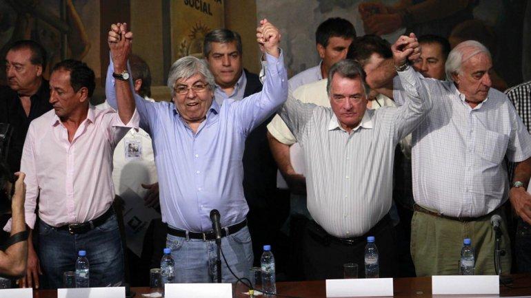 Moyano y Barrionuevo, juntos en el lanzamiento del paro que hicieron la semana pasada