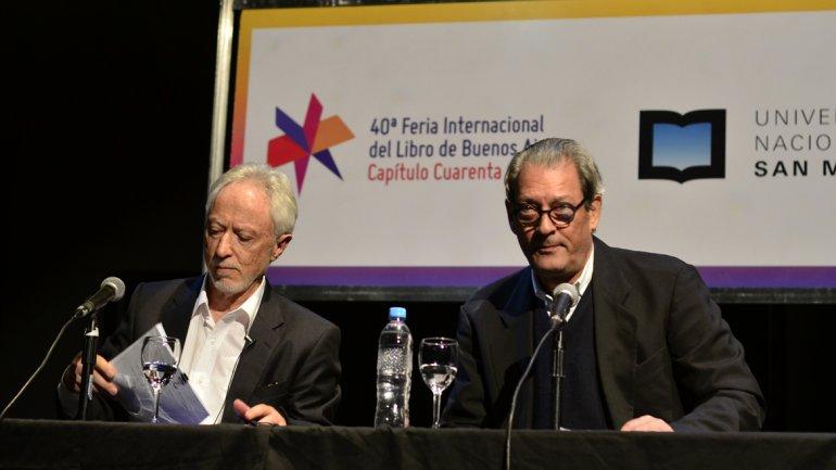 J.M. Coetzee y Paul Auster ayer en la Feria del Libro de Buenos Aires