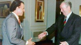 Julio Grondona junto al entonces presidente Carlos Menem