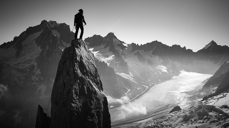 Escalador, Chamonix, Francia. Categoría lugares