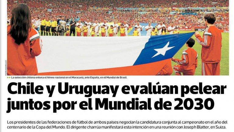 Chile quiere disputarle a la Argentina la organización del Mundial 2030 junto a Uruguay