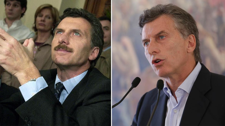 Mauricio Macri y su cambio de look: bigote y corbata durante su primera elección a jefe de Gobierno (2003) y con aspecto más descontracturado para competir por la Presidencia (2015)
