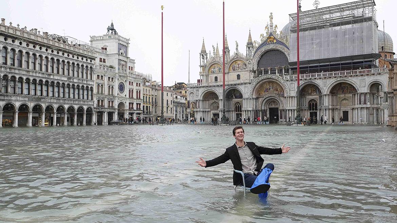 Imagen de la Plaza de San Marcos totalmente inundada