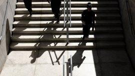Escalinatas de la nueva sede del Gobierno porteño, en Barracas.