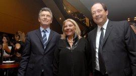 Mauricio Macri junto a Elisa Carrió y Ernesto Sanz, sus socios en Cambiemos.