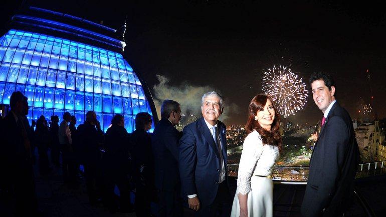 La presidente Cristina Kirchner, el ministro de Planificación Federal, Inversión Pública y Servicios, Julio de Vido y  secretario General de la Presidencia, Eduardo