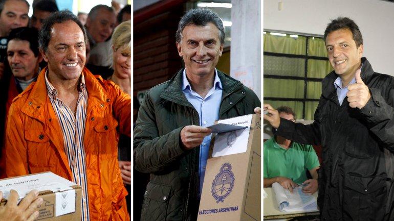 Los candidatos a presidente Daniel Scioli (FpV), Mauricio Macri (Cambiemos) y Sergio Massa (Frente Renovador).