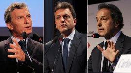 Mauricio Macri, Sergio Massa y Daniel Scioli hacen cuentas a tres semanas de las elecciones