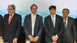 Aníbal Fernández, Daniel Scioli y Diego Bossio