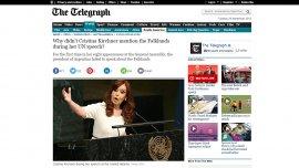 Captura del artículo sobre Cristina Kirchner que publicó el diario The Telegraph