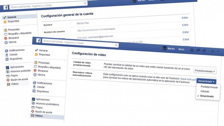 El menú para desactivar la reproducción automática de videos en Facebook
