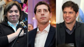 Máximo Kirchner, Eduardo Wado De Pedro y Axel Kicillof, tres referentes de La Cámpora