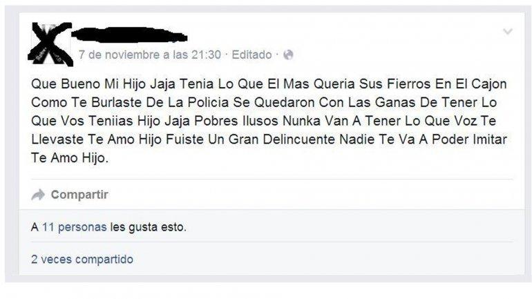 Madre a hijo muerto en Mendoza: