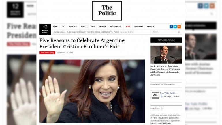 """Una universidad de los EEUU explica """"las 5 razones para celebrar la salida de Cristina Kirchner"""""""