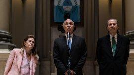 Los jueces de la Corte, Elena Highton de Nolasco, Ricardo Lorenzetti, y Juan Carlos Maqueda