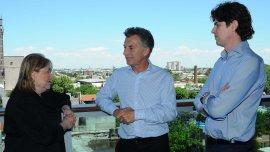 El Presidente Mauricio Macri, junto a la canciller Susana Malcorra y al embajador en Washington, Martín Lousteau