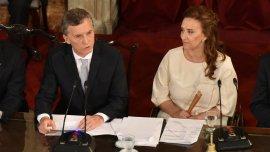 Mauricio Macri junto a Gabriela Michetti en el Congreso durante su asunción