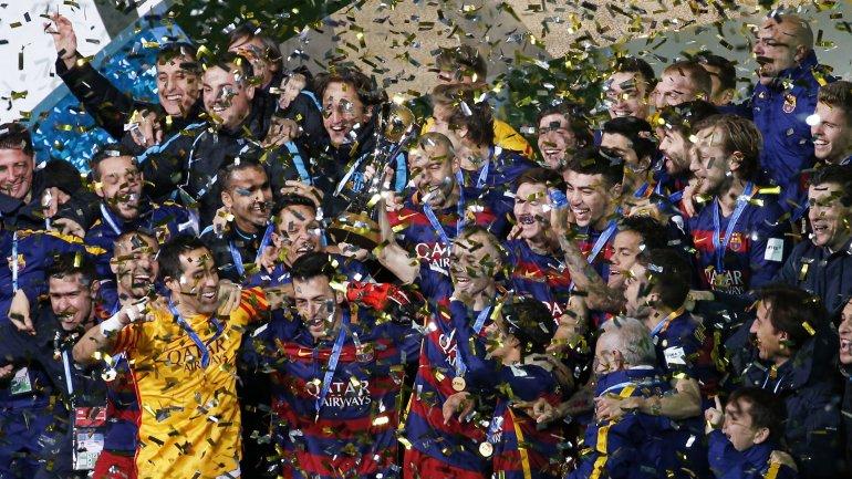 Todo el Barcelona festeja el Mundial de Clubes