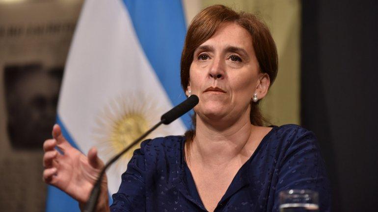 Gabriela Michetti durante una conferencia de prensa en Casa Rosada