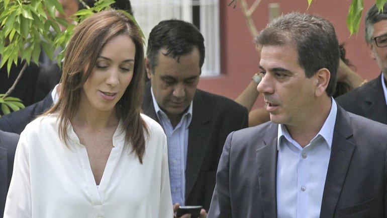 La gobernadora María Eugenia Vidal y el ministro Cristian Ritondo