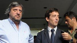 Miguel de Godoy y Agustín Garzón esta mañana, antes de ingresar a la sede de Afsca