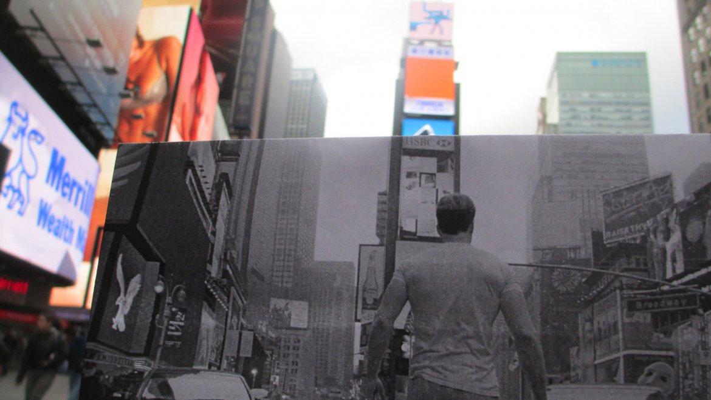 Una imagen de Capitán America en pleno Times Square