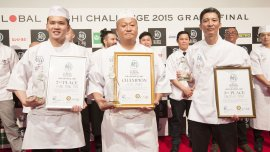 El podio: Jun Jibiki (Japón), Rey Meng Tan (Singapur) y Takatoshi Toshi (Estados Unidos)
