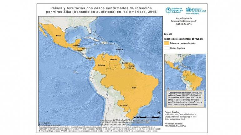 Mapa del virus Zika en la región