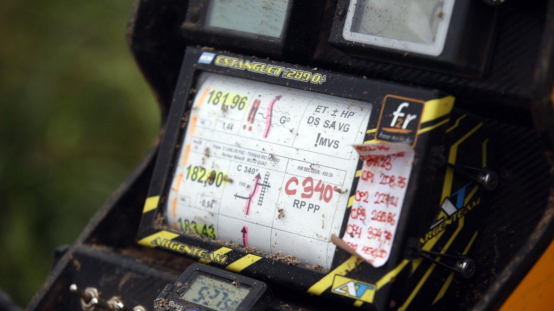Detalle del libro de ruta del corredor argentino Julio César Estanguet (CAN-AM) tras su accidente en la segunda etapa del rally Dakar