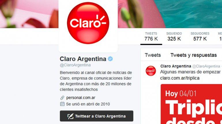 El detalle del perfil alterado de Claro en Twitter