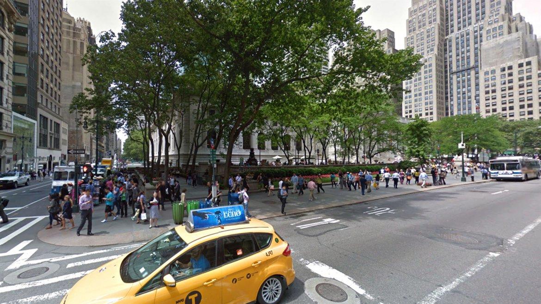 La Biblioteca  Pública de Nueva York oculta por los árboles, 2014