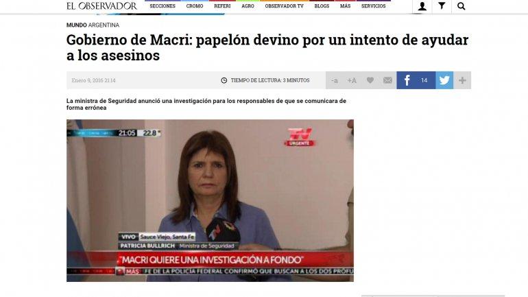 Gobierno de Macri: papelón devino por un intento de ayudar a los asesinos, tituló El Observador de Uruguay
