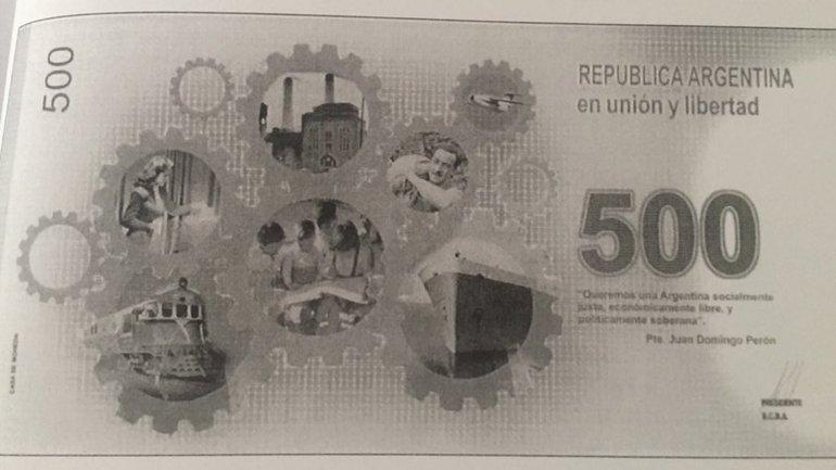 El dorso del diseño que el Banco Central había preparado para el billete de 500
