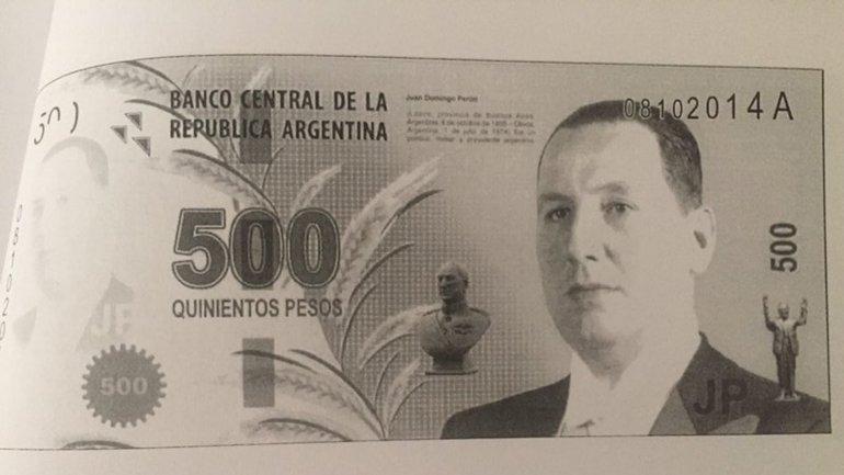 La imagen del ex presidente Juan Domingo Perón en el fallido diseño del billete de $500