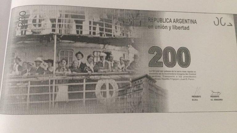 En el dorso del diseño del Banco Central para el de $200 había un barco