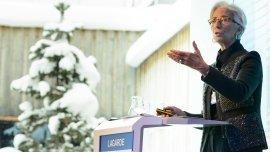 La titular del FMI, Christine Lagarde, durante una exposición en el Foro de Davos.