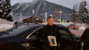 Mauricio Macri al llegar ayer al Hotel Seehof