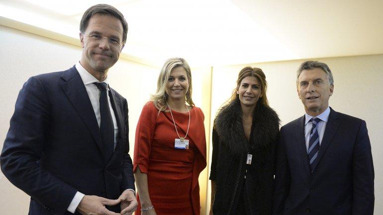 Mark Rutte, la Reina Máxima, Juliana Awada y Mauricio Macri en Davos