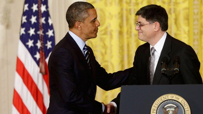 El presidente Barack Obama con el secretario del Tesoro, Jack Lew