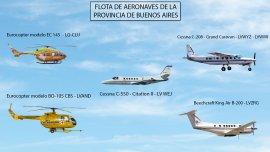 Parte de la flota de aeronaves de la provincia de Buenos Aires