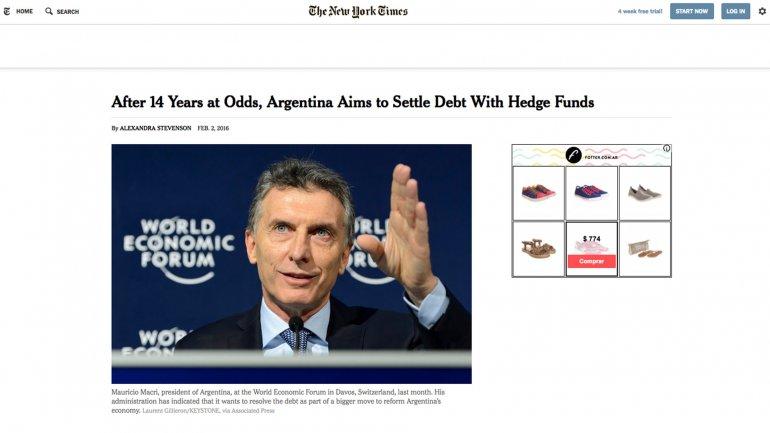 La emblemática publicación norteamericana difundió una crónica sobre el diferendo de Argentina y los holdouts, con título Después de 14 años de conflicto, Argentina trata de liquidar la deuda con los fondos de cobertura.