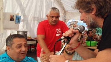 Amado Boudou y Luis DElía, este martes en Plaza de Mayo