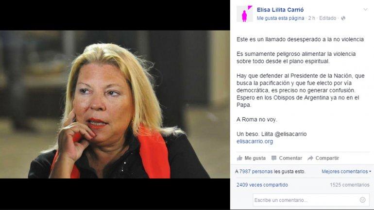 Elisa Carrió cargó contra el papa Francisco por su gesto hacia Milagro Sala.
