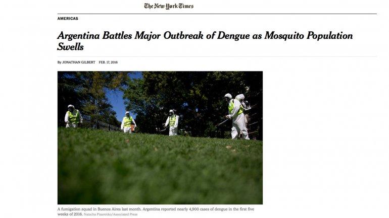 Argentina batalla su mayor brote de dengue mientras la población del mosquito se expande, afirma The New York Times.