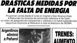Tapa del diario Clarín de 1988 en la que se anunciaba la aplicación de medidas para paliar la falta de energía
