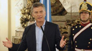 Mauricio Macri habla durante una conferencia en Casa Rosada